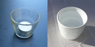 Teelichtglas und Blumentopf